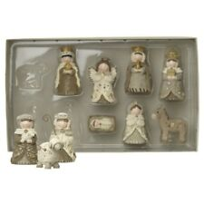 10 Piece Christmas Nativity Set Cream & Brown Resin – Scene Figures Small Indoor