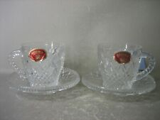 PAIR BOHEMIA 24% pbo LEAD CRYSTAL CZECHOSLOVAKIA CUPS AND SAUCERS