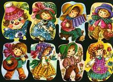 # GLANZBILDER # Krüger 171-266 groß / Bogen mit 8 Bildern Kinder + Clown,  RAR