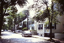 TREE LINED STREET , OLD CARS NANTUCKET MA  VINTAGE 35mm  Slide,
