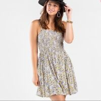 NWT Angie Smocked Cream Floral Summer Sun Midi Mini beach Boho Dress S/M/L