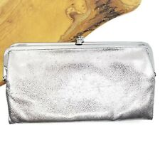 HOBO The Lauren Clutch Silver Distressed Platinum Leather Wallet Credit Card ID