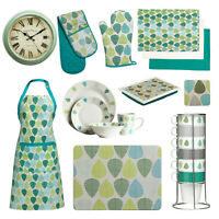 Kitchen Textiles Green Leaf Apron Oven Glove Lap Tray Clock Dinnerware Towels
