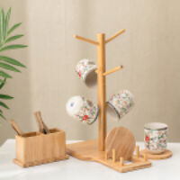 Cup Rack Holder Mug Tree Wood Bamboo Storage Coffee Tea Cups Kitchen Organize