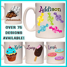 Personalised Sweets Mug, Lolly, Candy, Ice Cream, Cupcake, Chocolate - Name Gift