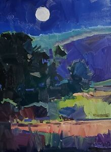 JOSE TRUJILLO Oil Painting IMPRESSIONISM CONTEMPORARY MOONLIGHT NOCTURNE SKY