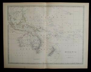Antique Map: Oceania by Alexander Keith Johnston, Handy Royal Atlas, 1884