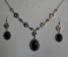 CAMELLIA FILIGREE VICTORIAN STYLE BLACK SILVER PLATED NECKLACE EARRINGS SET CFS