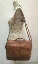 Leather Bag Satchel Shoulder Cross Body Medium Brown East West Zip Snaps Hand UK