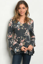 USA New Boho Hippie Gray Floral Tiered Bell Sleeve Western Blouse Top Tunic S-L