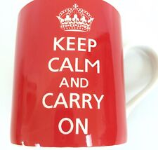 Keep Calm And Carry On 12 oz Tea Cup Coffee Mug Bright Red Kent Pottery White