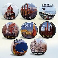 Italy Travel badges Set of 8 magnets