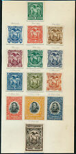 ECUADOR 1880-1904 (14) DIFF. ABNCo XF-S PLATE PROOFS ON INDIA (EX-GREEN) HV5317