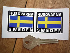 HUSQVARNA SWEDEN Flag Style Stickers 50mm Pair Swedish Motorcycle Helmet Bike