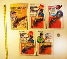 Set of 5 Vintage 1970's Miniature Die Cast Cap Pistols - Hong Kong