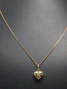 Halskette 333 GOLD 8 Karat Goldkette mit Anhänger Herz heart Gelbgold necklace