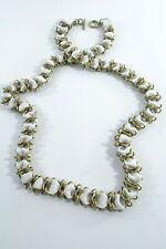 Lee Angel Womens White Grosgrain Ribbon Brass Link toggle Long nekclace NIP 295