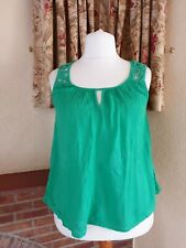 PARROT GREEN CRINKLE  VEST TOP FROM NEXT - SIZE 14 - SUMMER HOLIDAY