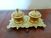 Antique Victorian Ornate Brass Inkstand with 2 Lidded Inkwells (Desktop Office)