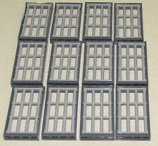 LEGO LOT OF 12 NEW TOWN JAIL WINDOWS WITH BARS BARRED GREY PIECES