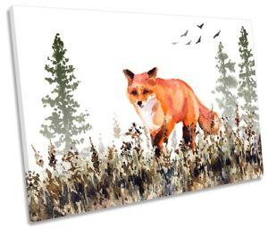 Fox Forest Wildlife SINGLE CANVAS WALL ART Print Picture Orange