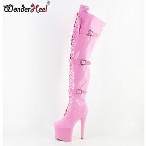 Hot 20cm Stiletto Heel Over Knee Boot Sexy High Heel Pink Buckles Platform Boots