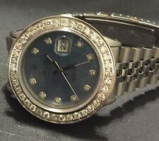 Rolex mens Blue diamond Dial & Diamond  Bezel 36mm Date just automatic watch