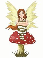 ART PRINT PAINTING DRAWING FAIRY MUSHROOM VECTOR FAIRYTALE KIDS LFMP0100