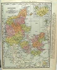 DENMARK & SWITZERLAND  ATLAS MAP PAGE 1916 WWII VINTAGE RAND MCNALLY EUROPE