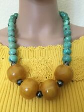 Huge Vintage Turquoise & Baltic Amber Butterscotch Necklace   219.11 grams