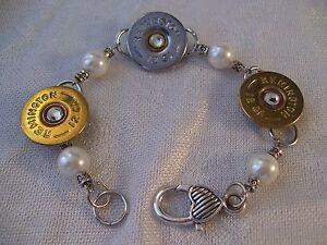 Bullet Head Casings & Faux Pearls Bracelet Remington 12 GA Hand Made OOAK II