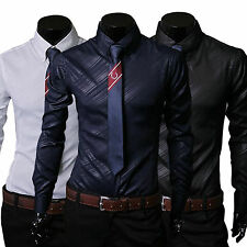Men's Long Sleeve Lapel Slim Fit Casual Shirts Striped Shiny Dress Shirt Tops