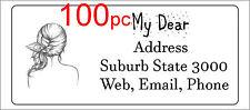 100 Personalised return address label custom mailing sticker 56x25mm hair design