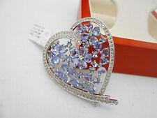WOW HUGE 18k Solid White Gold Natural Tanzanite & Diamond Heart Pendant Charm