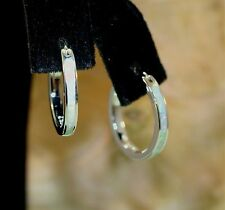 18MM RHODIUM OVER SOLID 925 STER SILVER INLAID WHITE CRYSTAL OPAL HOOP EARRINGS