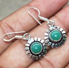 925 Sterling Silver Overlay U239-D35 Green Onyx Gemstone Dangle Earring