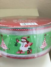 """Christmas Ribbon Snowman 2 1/2"""" Wired 55 Yards Nylon/Polyester ~ Green Red White"""