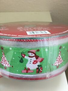 "Christmas Ribbon Snowman 2 1/2"" Wired 55 Yards Nylon/Polyester ~ Green Red White"
