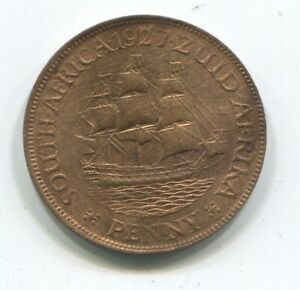SOUTH AFRICA PENNY 1927 UNC LOTS OF RED!!!