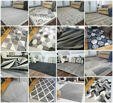 Grey Living Room Rugs Small Large Geometric Rug Soft Non Shed Shaggy Bedroom Rug