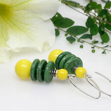 Agate Gemstone Earrings, Natural Gemstone Earrings, Green, Yellow, Drop, Dangle
