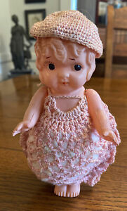 """Vintage Celluloid Plastic 6"""" Kewpie Flapper Doll - Strung Arms - Made in JAPAN"""