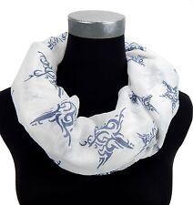 Tubo Blanco Azul Estrellas De Ella Jonte bufanda pañuelo mujer Viscosa Algodón