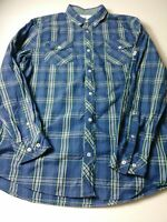 I Jeans By Buffalo Mens Shirt Size LT Blue Check Long Sleeve Button Down Cotton