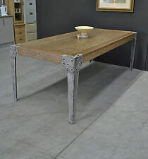 Large Rustic Modern Industrial Oak Refectory Dining Table ~ Studded Metal Legs