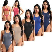 Women See Through Bikini Thong Swimsuit Leotard Top Bodysuit One-Piece Swimwear