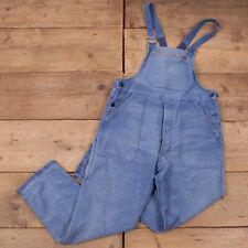 "Vintage Navy Blue Distressed French Moleskin Dungarees Overalls 36"" x 29"" R18100"
