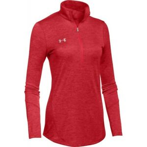 Under Armour Women's Novelty 1/2 Zip Pullover RED   METALLIC SILVER MD