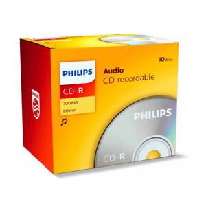 Philips CD-R 80min 700MB Audio 10er Pack CD Rohlinge 52x Speed CR7A0NJ10/00