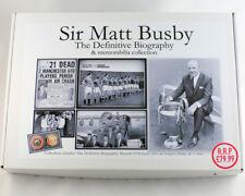 Sir Matt Busby memorabilia Collection. Biography PatrickB, Scarf, Badge, Tshirt.